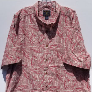 Woolrich Red Fish Newsprint 2XL Button Shirt